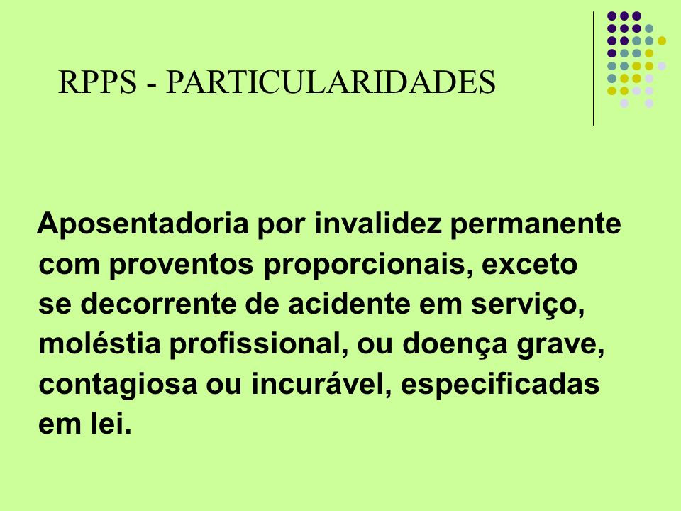 RPPS - PARTICULARIDADES