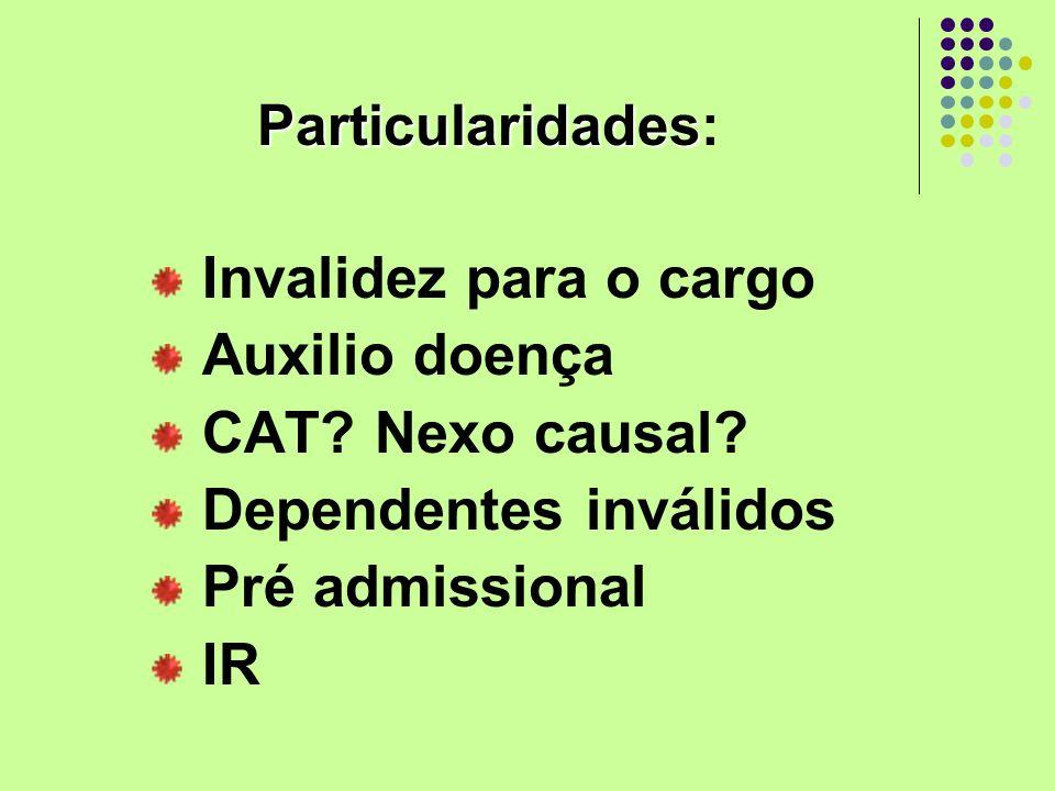 Dependentes inválidos Pré admissional IR
