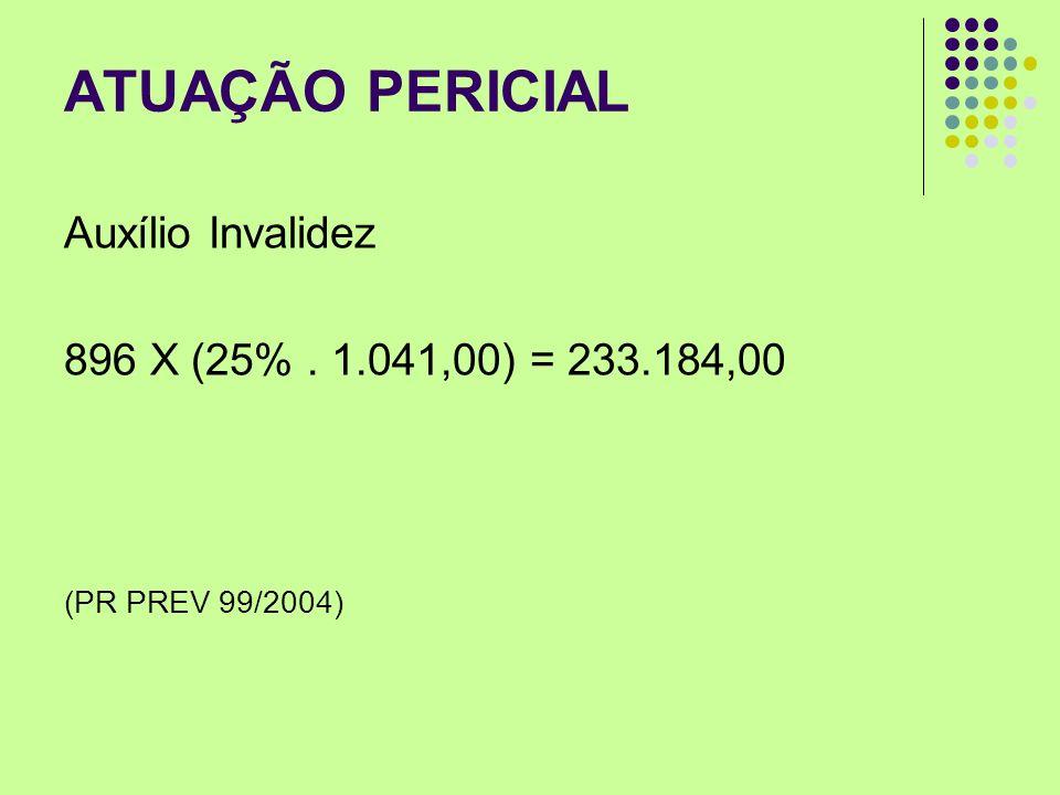 ATUAÇÃO PERICIAL Auxílio Invalidez 896 X (25% . 1.041,00) = 233.184,00