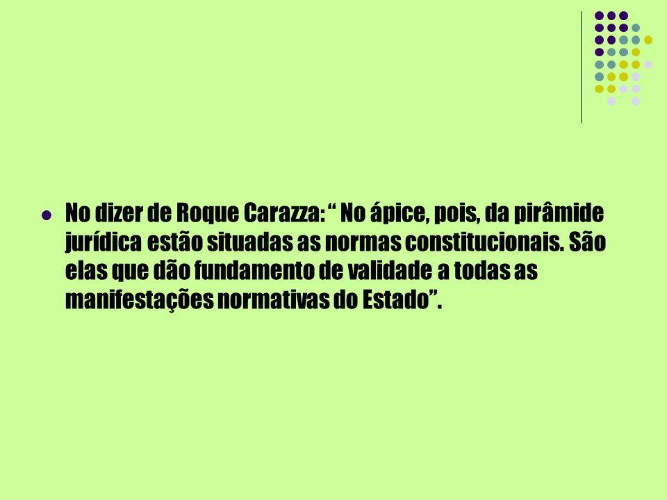 No dizer de Roque Carazza: No ápice, pois, da pirâmide jurídica estão situadas as normas constitucionais.