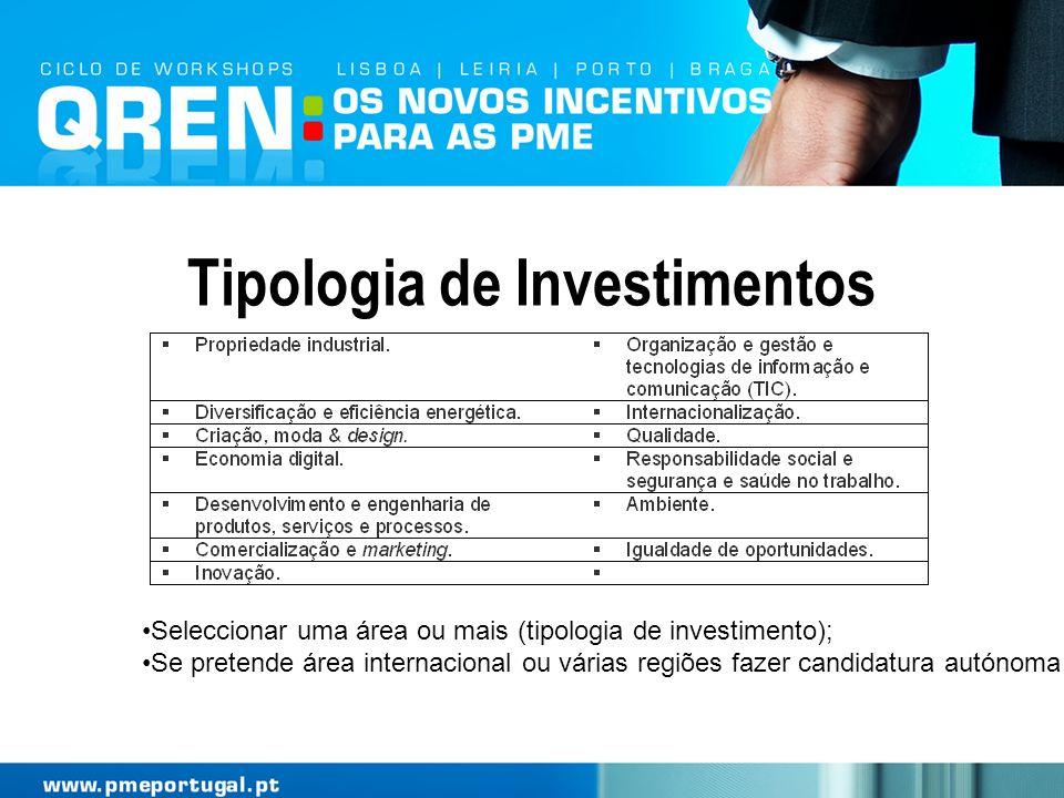 Tipologia de Investimentos