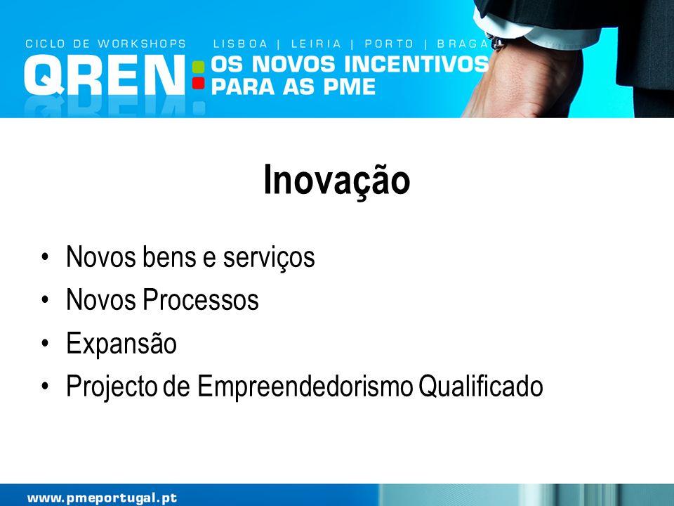 Inovação Novos bens e serviços Novos Processos Expansão