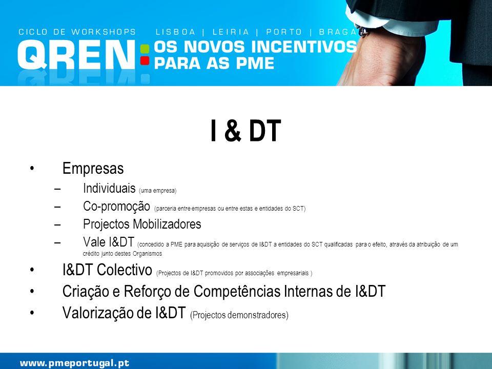 I & DT Empresas. Individuais (uma empresa) Co-promoção (parceria entre empresas ou entre estas e entidades do SCT)