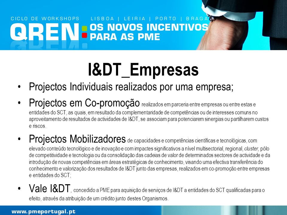 I&DT_Empresas Projectos Individuais realizados por uma empresa;