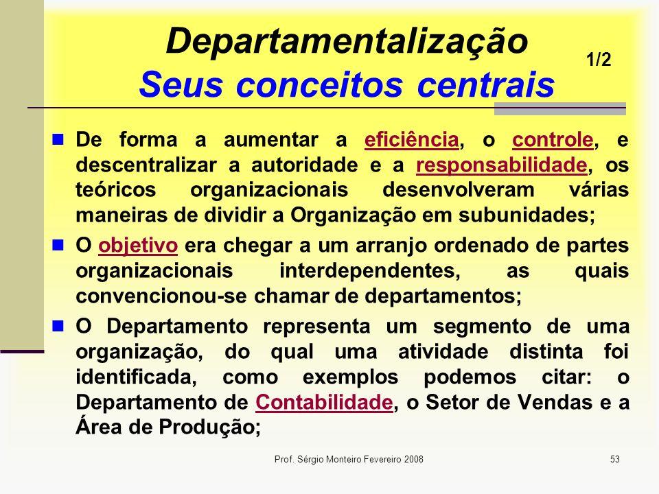 Departamentalização Seus conceitos centrais