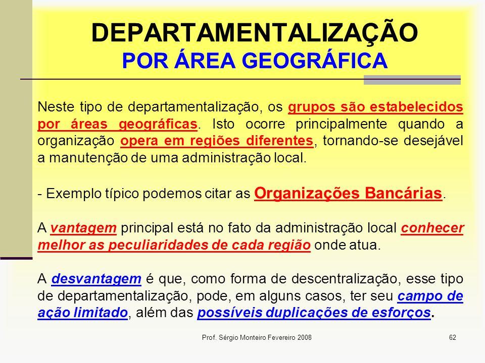 DEPARTAMENTALIZAÇÃO POR ÁREA GEOGRÁFICA
