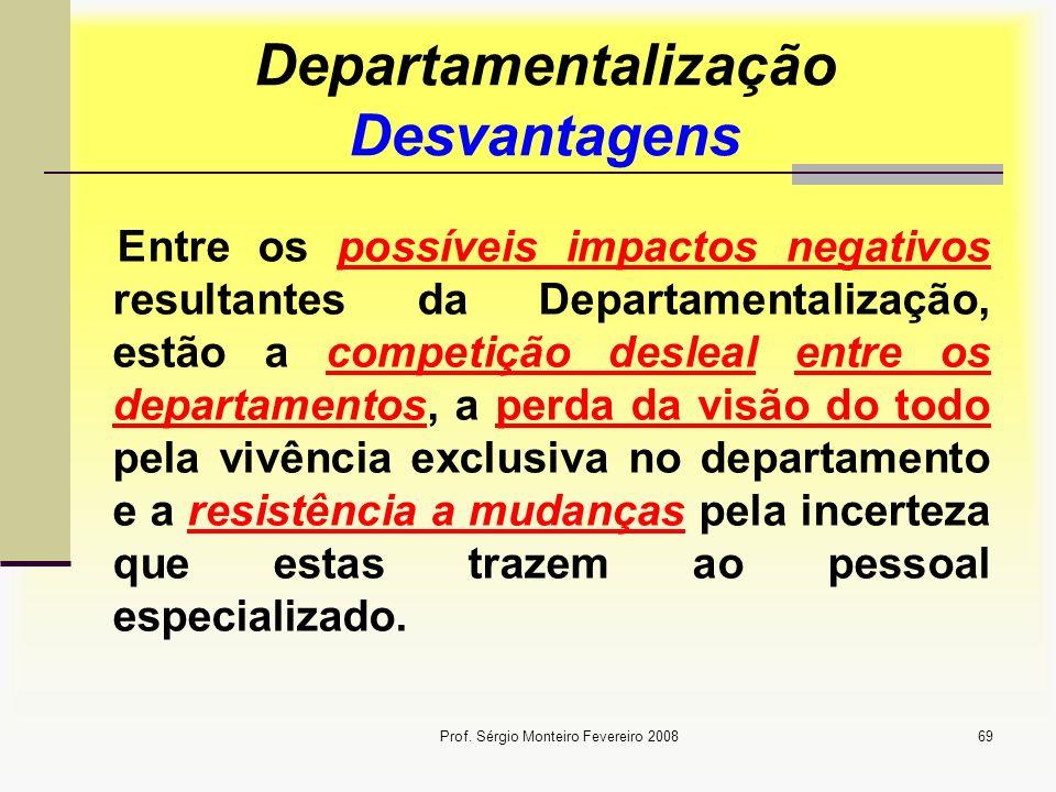 Departamentalização Desvantagens