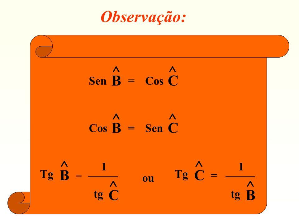 Observação: Sen ^ B = Cos C Tg 1 tg ou