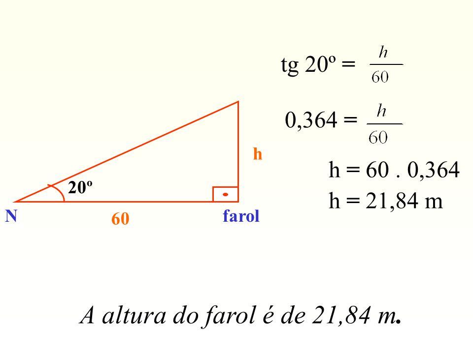 A altura do farol é de 21,84 m. tg 20º = 0,364 = h = 60 . 0,364