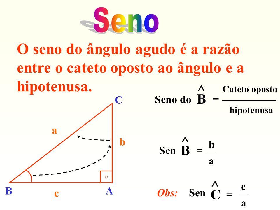 SenoO seno do ângulo agudo é a razão entre o cateto oposto ao ângulo e a hipotenusa. Seno do. ^ B. =