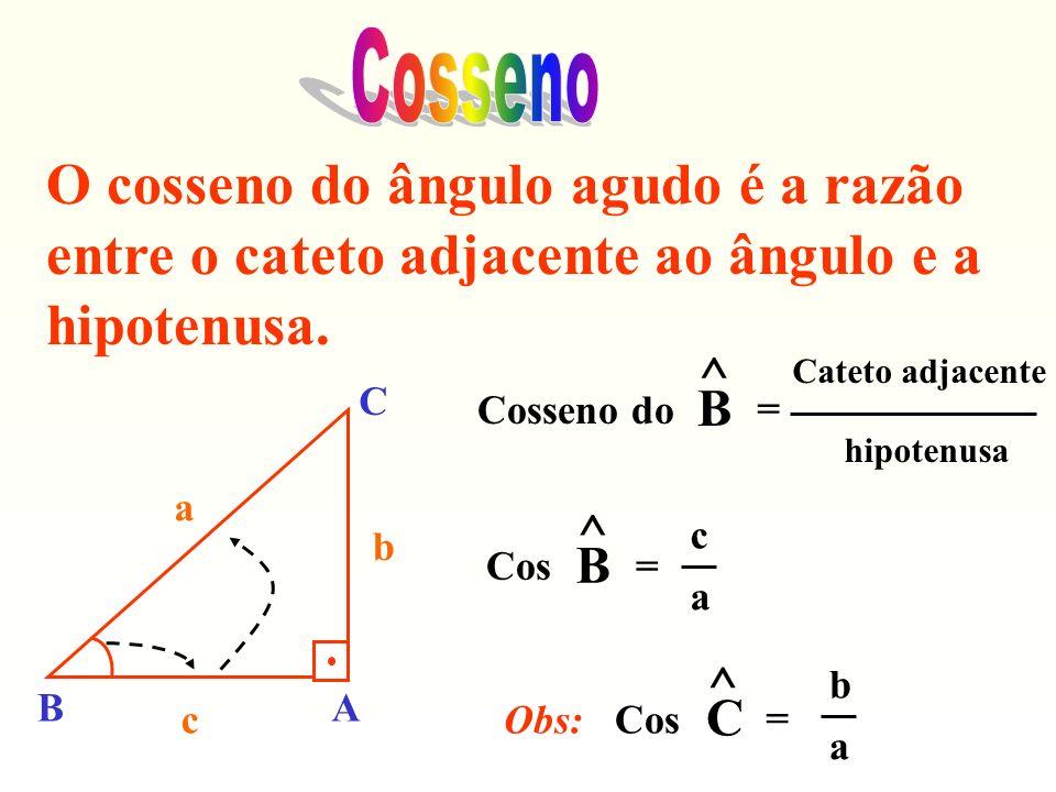 CossenoO cosseno do ângulo agudo é a razão entre o cateto adjacente ao ângulo e a hipotenusa. Cosseno do.