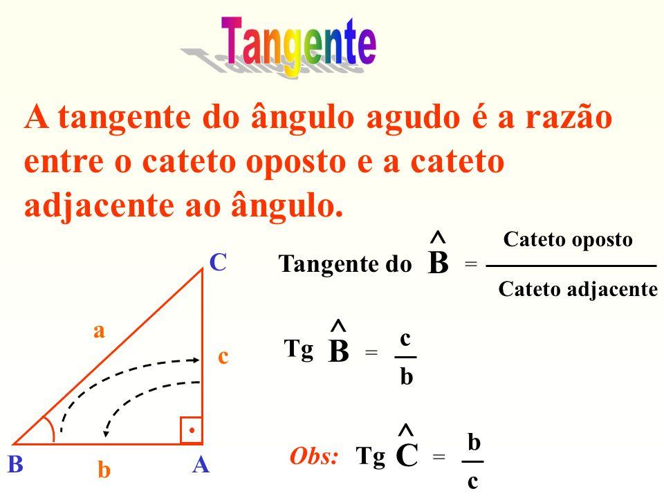 Tangente A tangente do ângulo agudo é a razão entre o cateto oposto e a cateto adjacente ao ângulo.