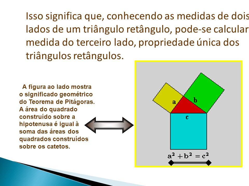 Isso significa que, conhecendo as medidas de dois lados de um triângulo retângulo, pode-se calcular a medida do terceiro lado, propriedade única dos triângulos retângulos.