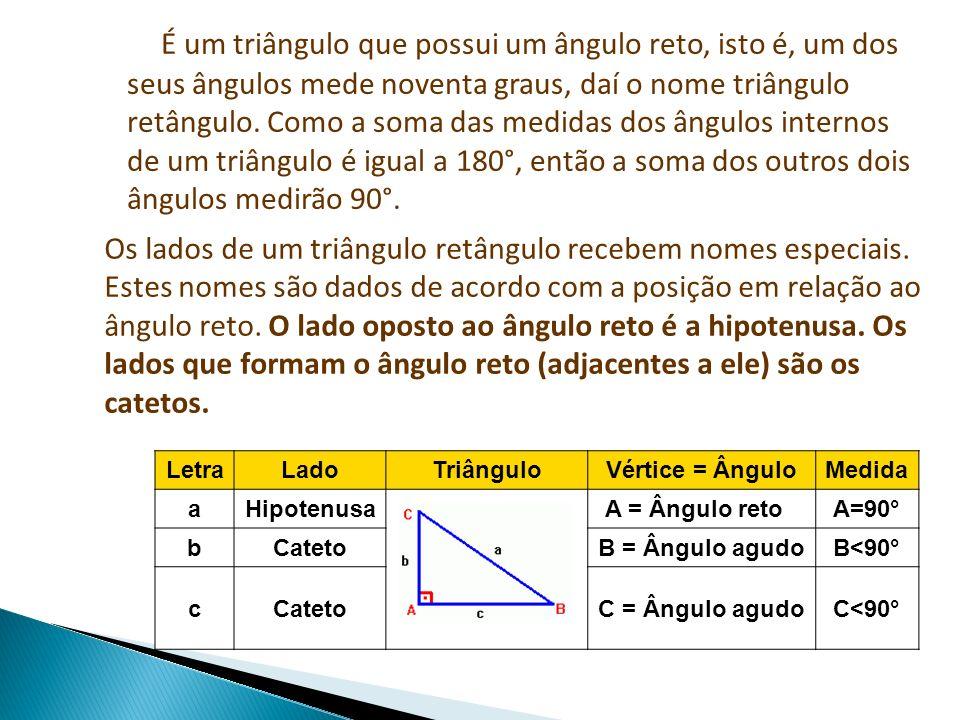 É um triângulo que possui um ângulo reto, isto é, um dos seus ângulos mede noventa graus, daí o nome triângulo retângulo. Como a soma das medidas dos ângulos internos de um triângulo é igual a 180°, então a soma dos outros dois ângulos medirão 90°.