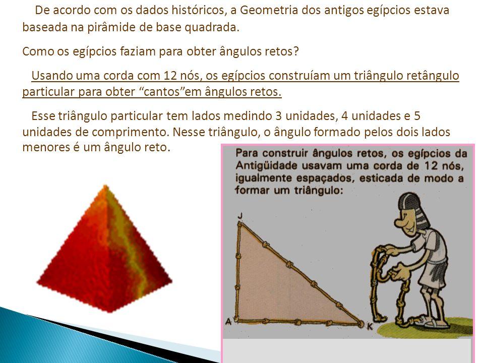 De acordo com os dados históricos, a Geometria dos antigos egípcios estava baseada na pirâmide de base quadrada.