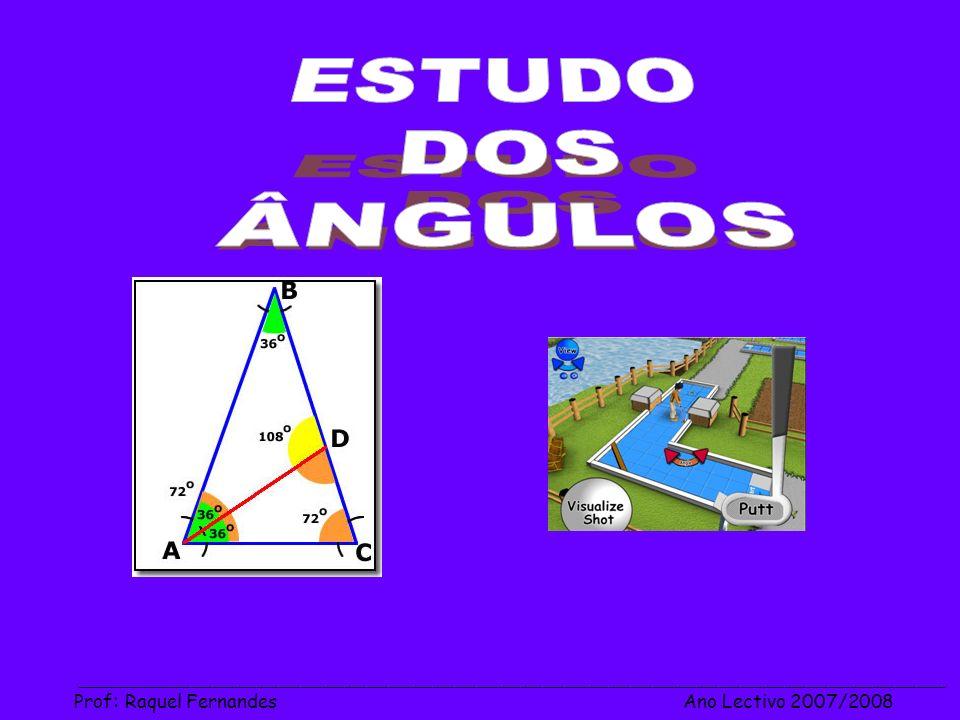 ESTUDO DOS ÂNGULOS Prof: Raquel Fernandes Ano Lectivo 2007/2008