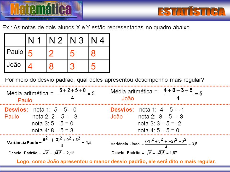 Ex.: As notas de dois alunos X e Y estão representadas no quadro abaixo.
