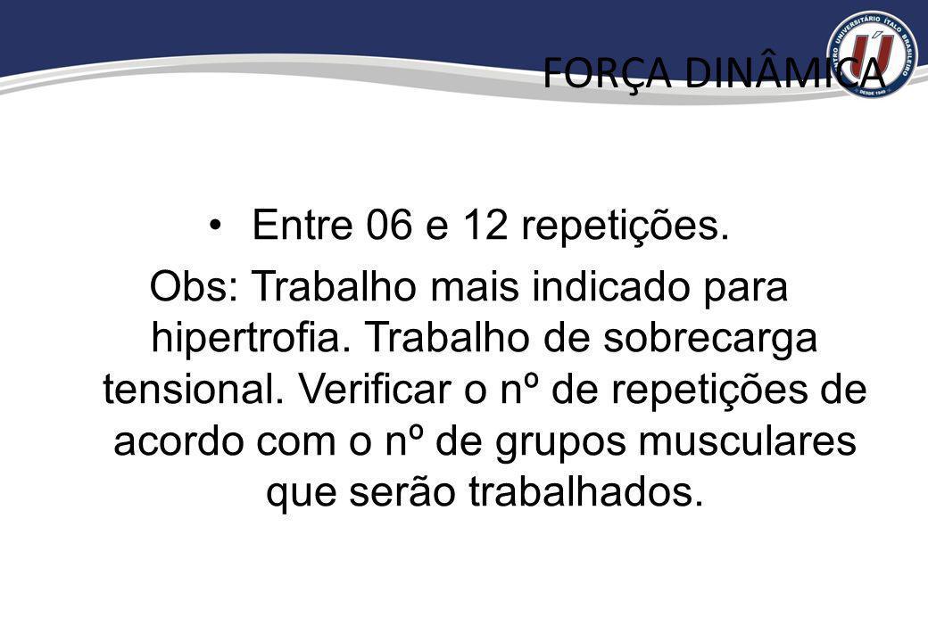 FORÇA DINÂMICA Entre 06 e 12 repetições.
