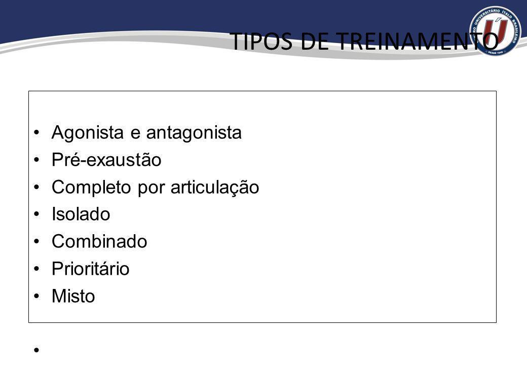 TIPOS DE TREINAMENTO Agonista e antagonista Pré-exaustão