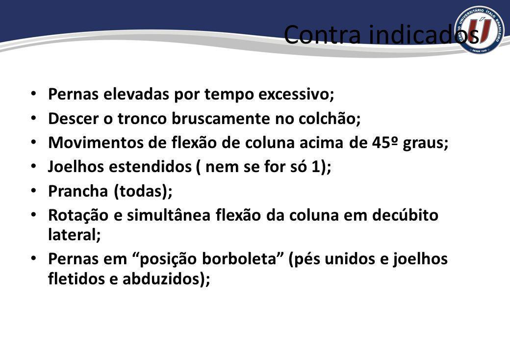Contra indicados Pernas elevadas por tempo excessivo;