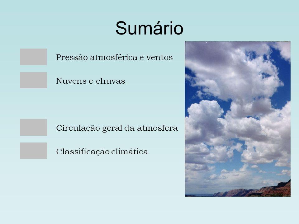 Sumário Pressão atmosférica e ventos Nuvens e chuvas
