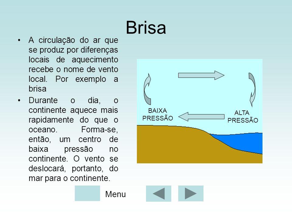Brisa A circulação do ar que se produz por diferenças locais de aquecimento recebe o nome de vento local. Por exemplo a brisa.