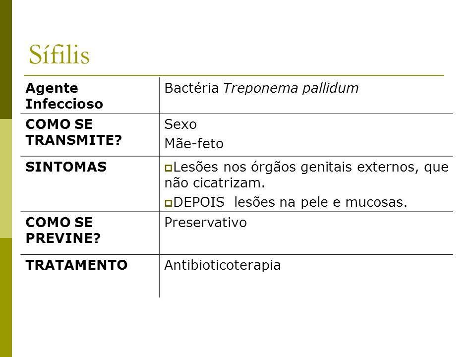 Sífilis Agente Infeccioso Bactéria Treponema pallidum