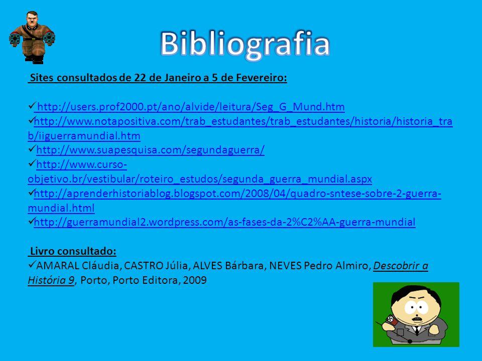 Bibliografia Sites consultados de 22 de Janeiro a 5 de Fevereiro: