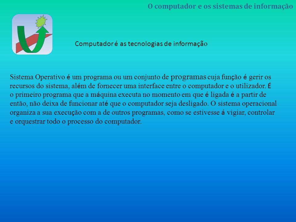 Sistema Operativo é um programa ou um conjunto de programas cuja função é gerir os recursos do sistema, além de fornecer uma interface entre o computador e o utilizador.