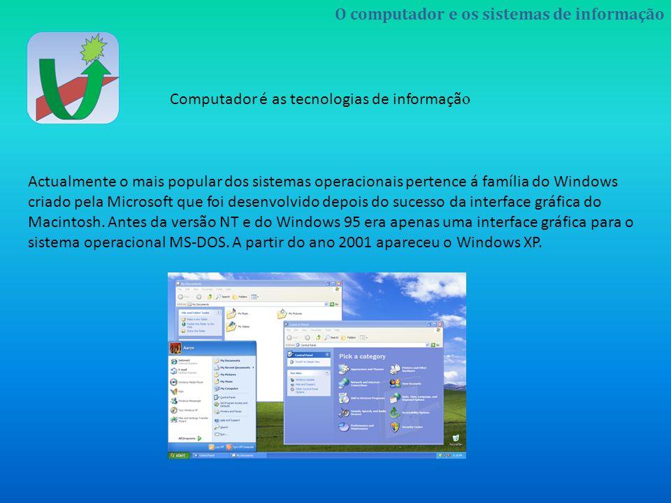 Actualmente o mais popular dos sistemas operacionais pertence á família do Windows criado pela Microsoft que foi desenvolvido depois do sucesso da interface gráfica do Macintosh.