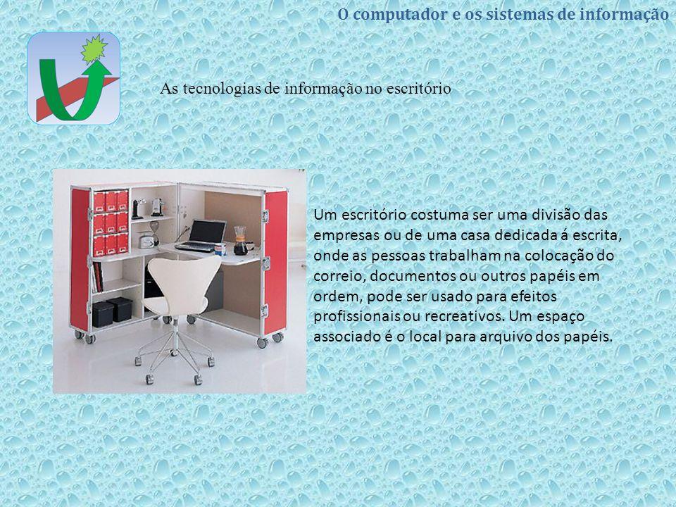 Um escritório costuma ser uma divisão das empresas ou de uma casa dedicada á escrita, onde as pessoas trabalham na colocação do correio, documentos ou outros papéis em ordem, pode ser usado para efeitos profissionais ou recreativos.