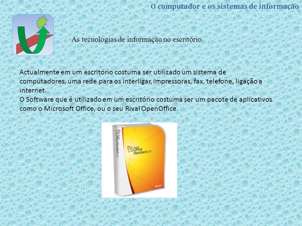 Actualmente em um escritório costuma ser utilizado um sistema de computadores, uma rede para os interligar, impressoras, fax, telefone, ligação a internet.