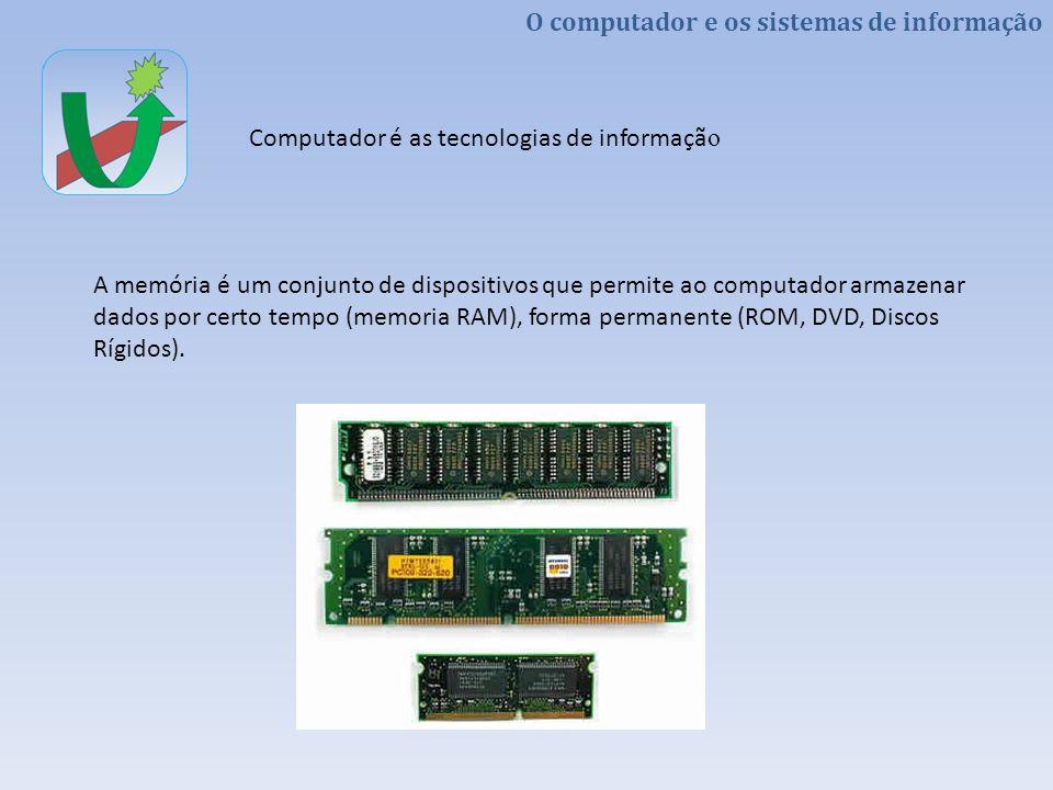 A memória é um conjunto de dispositivos que permite ao computador armazenar dados por certo tempo (memoria RAM), forma permanente (ROM, DVD, Discos Rígidos).
