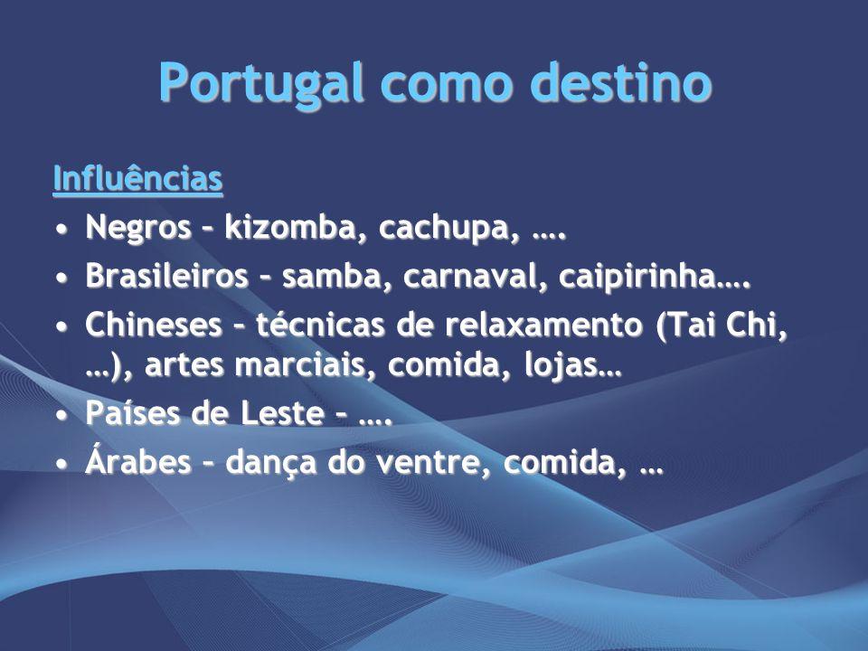 Portugal como destino Influências Negros – kizomba, cachupa, ….