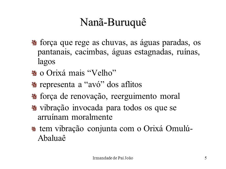 Nanã-Buruquê força que rege as chuvas, as águas paradas, os pantanais, cacimbas, águas estagnadas, ruínas, lagos.