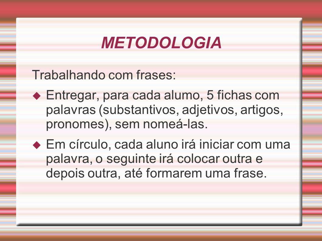 METODOLOGIA Trabalhando com frases: