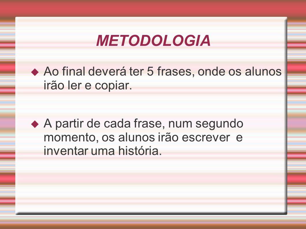 METODOLOGIA Ao final deverá ter 5 frases, onde os alunos irão ler e copiar.