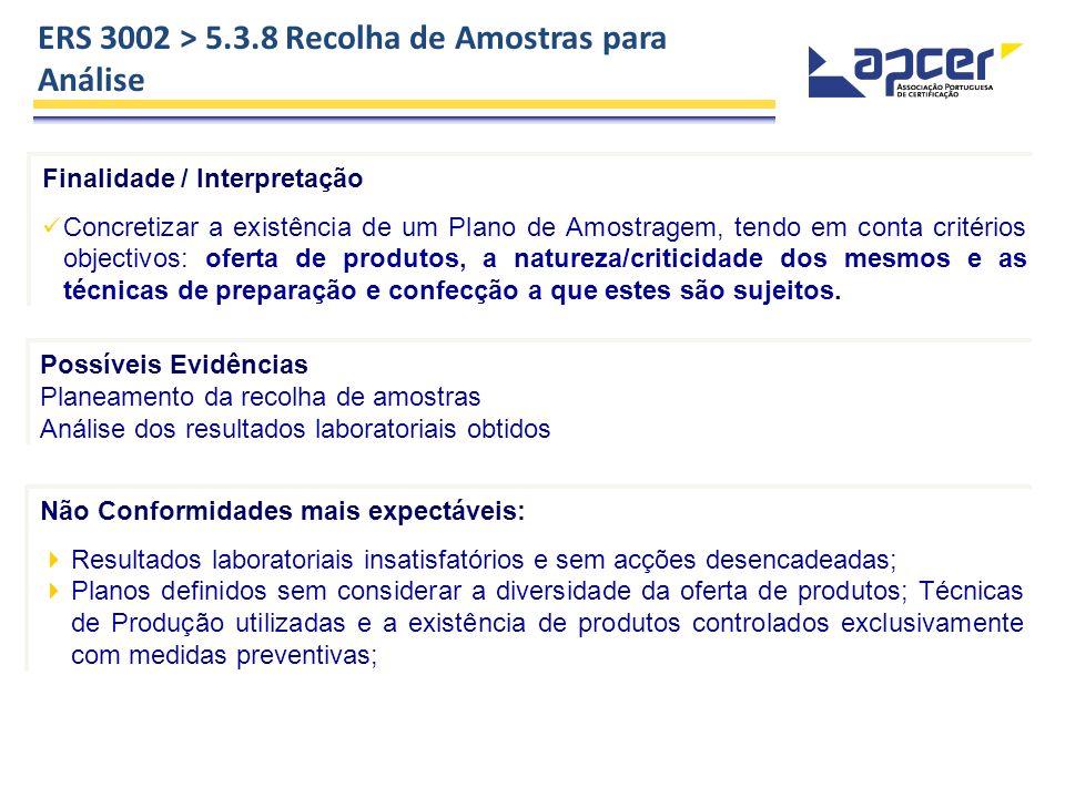 ERS 3002 > 5.3.8 Recolha de Amostras para Análise