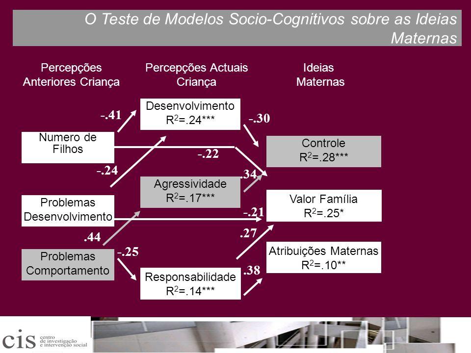 O Teste de Modelos Socio-Cognitivos sobre as Ideias Maternas