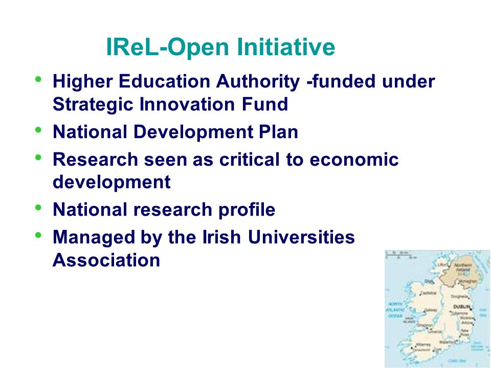 IReL-Open Initiative Higher Education Authority -funded under Strategic Innovation Fund. National Development Plan.