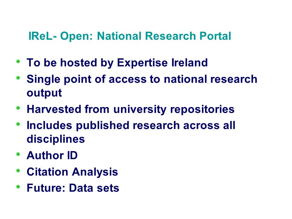 IReL- Open: National Research Portal