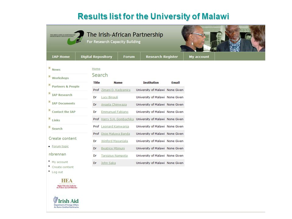 Results list for the University of Malawi
