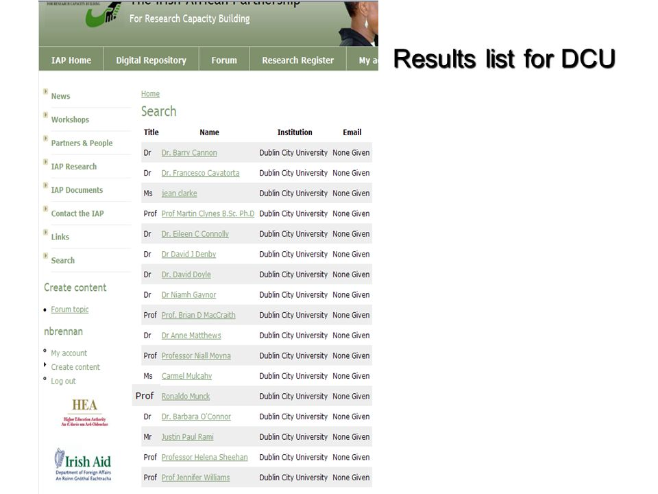 Results list for DCU