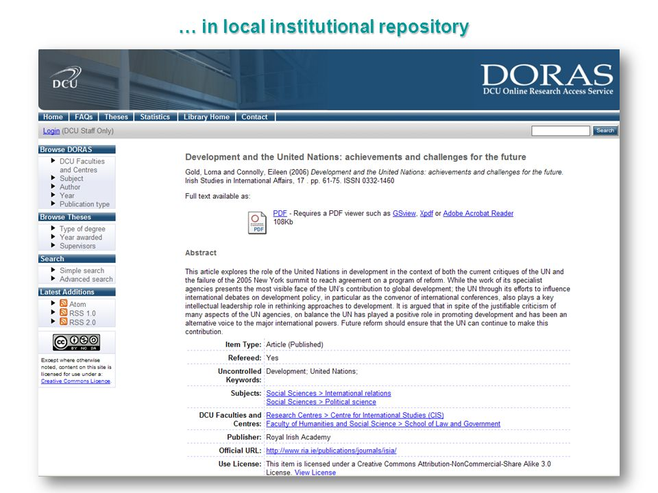 … in local institutional repository