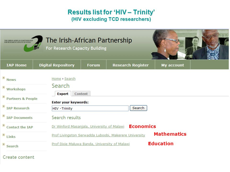 Results list for 'HIV – Trinity' (HIV excluding TCD researchers)