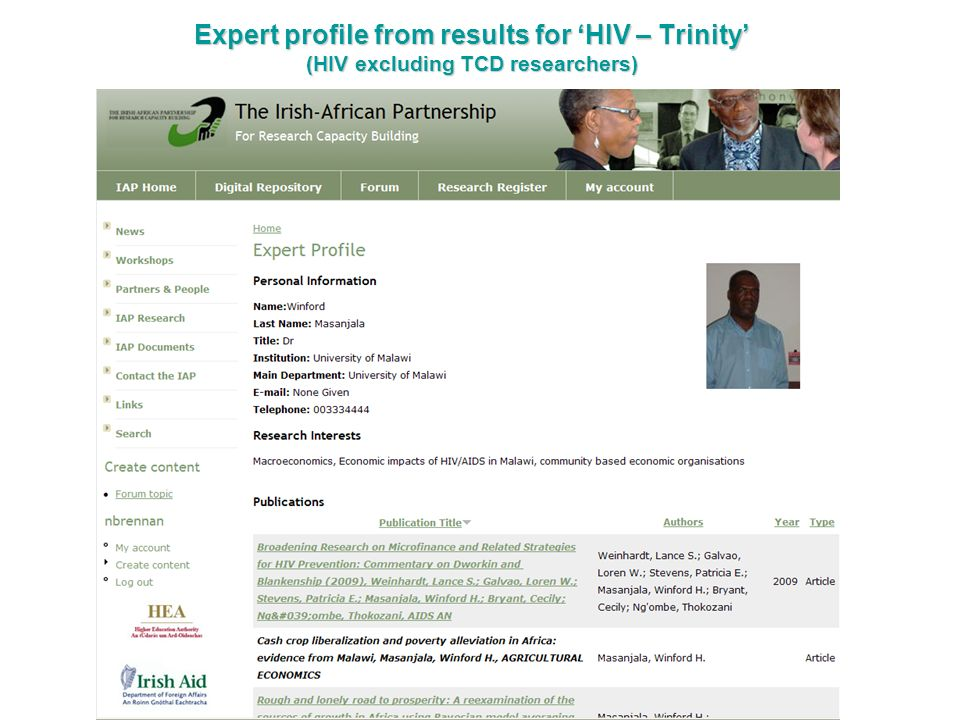 Expert profile from results for 'HIV – Trinity' (HIV excluding TCD researchers)