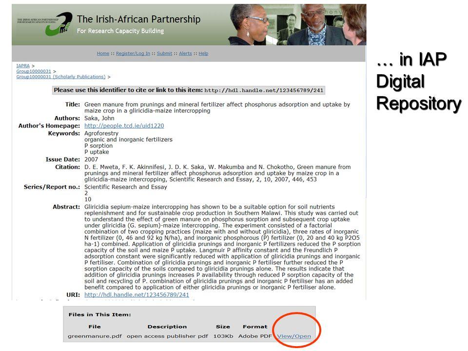 … in IAP Digital Repository