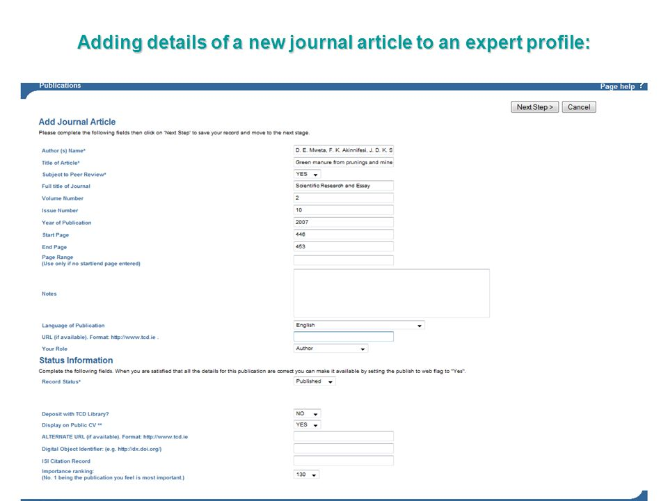 Adding details of a new journal article to an expert profile: