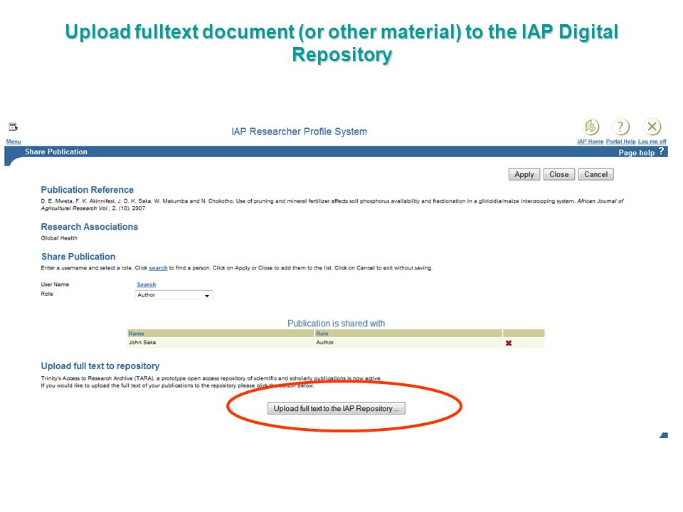 Upload fulltext document (or other material) to the IAP Digital Repository