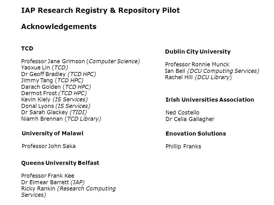 IAP Research Registry & Repository Pilot Acknowledgements